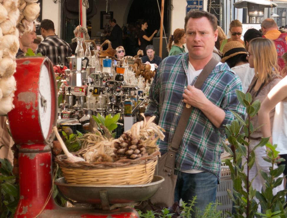 Danny McCarthy at Rome's Campo de' Fiori market/Photo: Dan Finnen